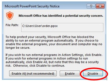 Microsoft Office PowerPoint Security Notice