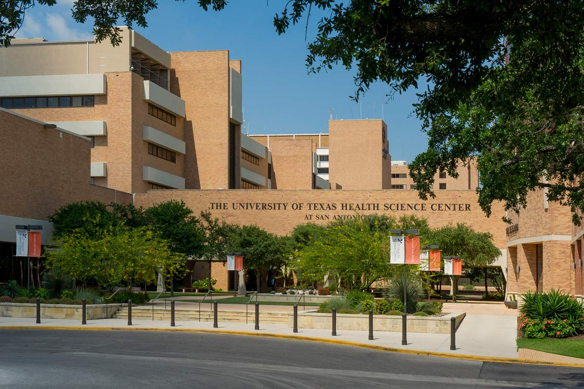 Front entrance and facade of the UT Health Science Center San Antonio