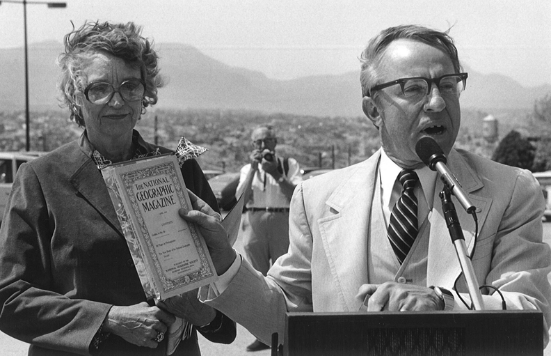 Regent Blumberg and Dr. Haskell Monroe dedicating the U. T. El Paso Library on April 17, 1982