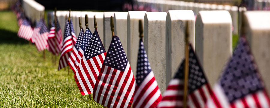 image of a row of flags at arlington national cemetery