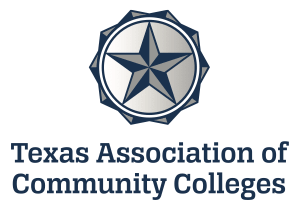 logo of Texas Association of Community Colleges:  A duel colored Texas beveled star in a circle with ten ridges on the outside.