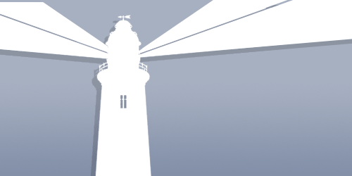 Silhouette of a lighthouse and light beams