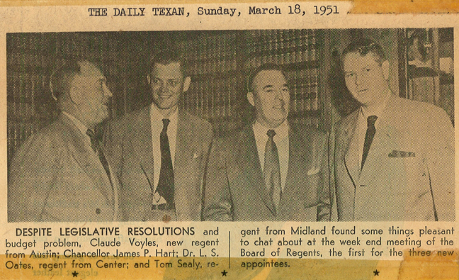 Regent Voyles, Chancellor Hart, Regent Oates, and Regent Sealy, photograph printed in The Daily Texas on March 18, 1951