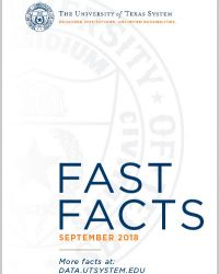 Cover for Fast Facts September 2019.  Start white cover with UT System logo in the top right, faded seal as a background element and title and date at the bottom.