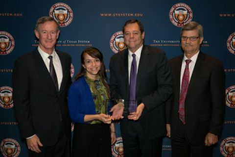 Heather Mawson with Chancellor Bill McRaven, Board of Regents Chairman Paul Foster and Executive Vice Chancellor for Academic Affairs Steve Leslie.